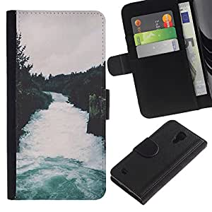 KingStore / Leather Etui en cuir / Samsung Galaxy S4 IV I9500 / Naturaleza Bosque Gris Cielo Árboles;