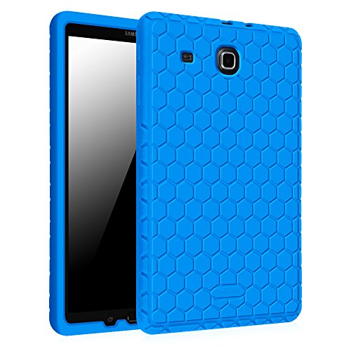 Fintie Samsung Galaxy Tab E 9.6 Case - [Honey Comb Series] Light Weight [Anti Slip] Shock Proof Silicone Cover [Kids Friendly] for Tab E Wi-Fi / Tab E Nook / Tab E Verizon 9.6-Inch Tablet, Blue