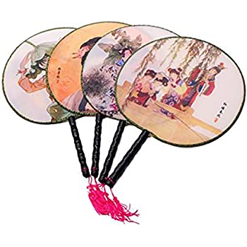 Set of 4 Round Chinese Ancient Hand Fan Classic Palace Paddle Hand Fan