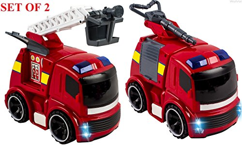 WolVol  Push and Go Friction Powered Fire Truck Toys for Kid