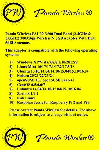 Panda Wireless PAU09 N600 Dual Band (2.4GHz and 5GHz) Wireless N USB Adapter W/ Dual 5dBi Antennas - Windows XP/Vista/7/8/8.1/10, Mint, Ubuntu, openSUSE, Fedora, CentOS, Kali Linux and Raspbian by Panda Wireless (Image #1)