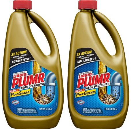 - Liquid-Plumr Pro-Strength Full Clog Destroyer Plus PipeGuard, 32 Ounce Bottles - 2 Pack