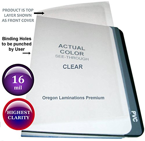 Extra Thick 16 Mil 11x17 Clear Plastic Binding Covers Report Cover Sheets 11 x 17 Qty 25 (11 Unpunched 25 Covers)