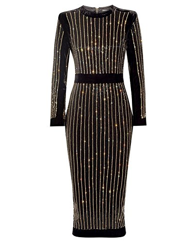 whoinshop Women's High Neck Long Sleeves Rhinestone Midi Evening Bandage Elegant Dress Black