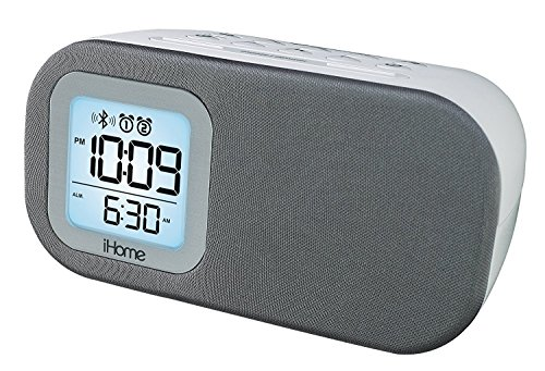 Price comparison product image iHome Compact Bluetooth Dual Alarm Clock Radio with Large Display Speakerphone & Lightning Dock (White)