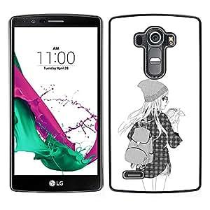 LG G4 , JackGot - Impreso colorido protector duro espalda Funda piel de Shell (Hipster School Girl Moda Negro Blanco)