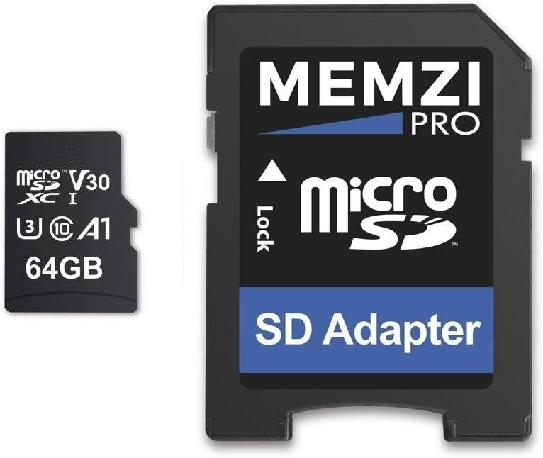 MEMZI PRO 64GB Memory Card Compatible for AKASO Brave 7 LE, 6 Plus/6/5/4, V50 Elite/Native/Pro/Pro SE, V50, EK7000 Plus/Pro Action Cameras - 100MB/s Class 10 U3 A1 V30 microSDXC with SD Adapter