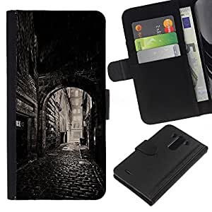 For LG G3 Case , Street Old Town Medieval - la tarjeta de Crédito Slots PU Funda de cuero Monedero caso cubierta de piel