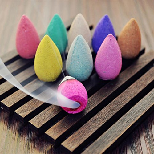 Sunbona 25pcs Smoke Tower Hollow Incense Cones Mixed Variety of Scents for Backflow Incense Pack Sandalwood Jasmine Opium Oriental Woods Knox Without Burner (Multicolor E)