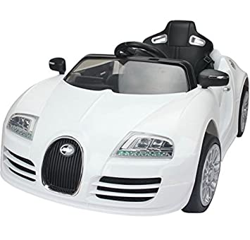 Bugatti Veyron Style 12v Kids Ride On Car   White   Features Music Buttons  On The