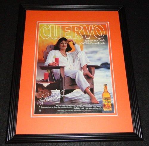 Anjelica Huston Facsimile Signed Framed 1987 Cuervo Tequila Advertising Display
