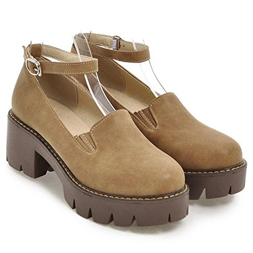 TAOFFEN Women's Chunky Heel Court Shoes Camel 2yoemk