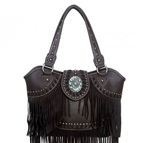 Montana West Mw97-8005 Trinity Ranch Fringe Design Western Handbag Purse