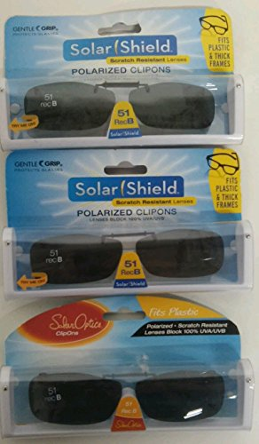 3 SOLAR SHIELD Clip-on Polarized Sunglasses Size 51 rec B Black Frameless - Sunglasses Sun Polarized Shield