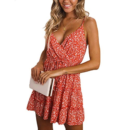 Wrap Ruffle Dress, Sexy Elegant V-Neck Spaghetti Strap Tea Length Flowy Trapeze Sun Dress for Women Girls Summer Hawaiian Luau Tiki Party Holiday Going Out (Red Floral, M|US Size -