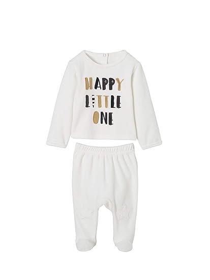 6e6165990879c Vertbaudet Lot de 2 Pyjamas bébé 2 pièces en Velours LOT Ivoire Naissance -  50CM