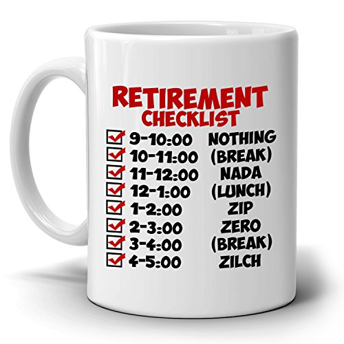 Funny Retirement Gift Checklist Coffee Mug, Perfect Humor Present Ideas for Coworker Party Invitations, Printed on Both - Stores Uk Co Tiffany And