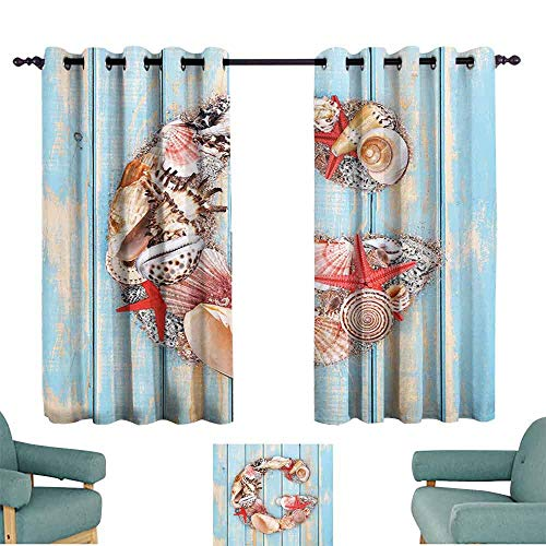 HCCJLCKS Kids Room Curtains Letter G Nautical Theme with Marine Animals Invertebrates Seashell Starfish Privacy Protection W63 xL72 Pale Blue Ivory Dark Coral