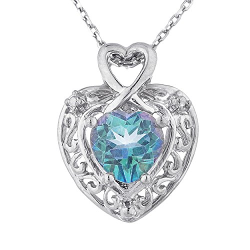 Natural Blue Mystic Topaz Heart Design Pendant .925 Sterling Silver Rhodium ()