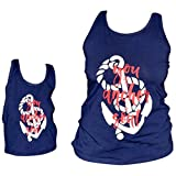 Unique Baby Girls Mommy & Me Racerback Anchor Tank Tops (8/XXXL, Navy Blue)