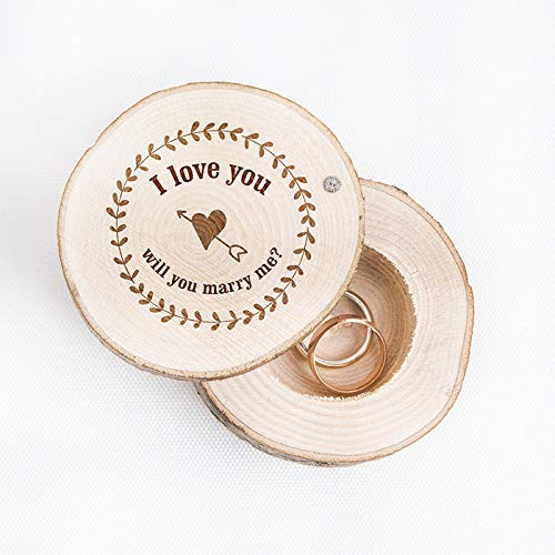 JETPRINT I Love You & Will You Marry Me? Wedding Ring Box - Custom Ring Bearer - Rustic Wooden Ring Box - Best Way to Propose by JETPRINT