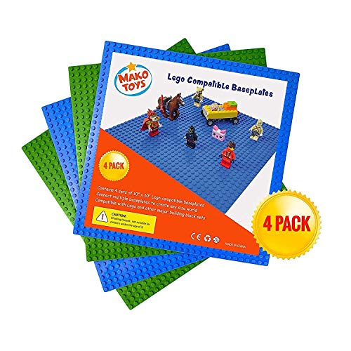 Lego Compatible Baseplates (4 pieces of 10 x 10) in Blue and Green, Works with Major Brick Building Sets, Wonderful Plate for Kids