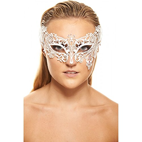 [Teardrop White Masquerade Mask (Purple Rhinestones; Unisex; One Size Fits Most)] (Womens Masquerade Costume Countess)