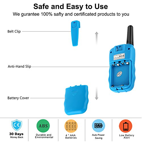 WisHouse Walkie Talkies for Kids,Fashion Toys for Boys and Girls Best Handheld Two Way Radio with Flashlight for 4 Year Old and up to Camping Hiking Riding and Cruise Ship(T388 Blue 4 Pack) by Wishouse (Image #6)
