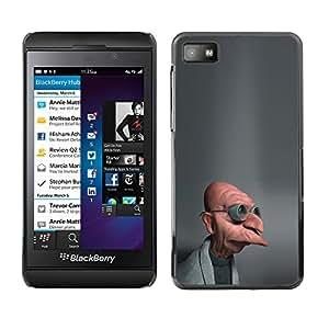 CASECO - Blackberry Z10 - Funny Mad Scientist - Delgado Negro Plástico caso cubierta Shell Armor Funda Case Cover - Científico enojado divertido