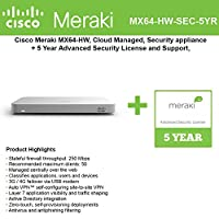 Cisco Meraki MX64 Small Branch Security Appliance Bundle, 200Mbps FW, 5xGbE Ports - Includes 5 Years Advanced Security License