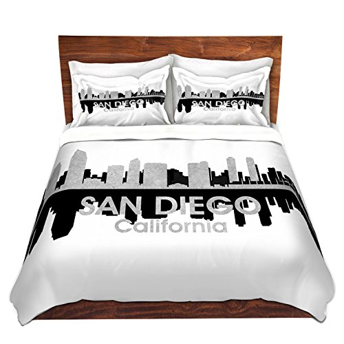DiaNoche Designs Artist Angelina Vick-City IV San Diego California Brushed Twill Home Decor Bedding Cover, 8 King Duvet Sham Set - Diego Comforter Set