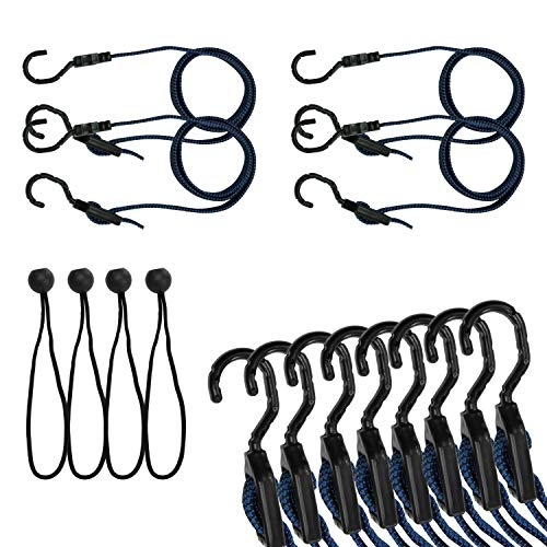 (Houseables Bungee Cords & Balls Set, Extra Long, Tarp Clips, 8 PCS, Blue, 48