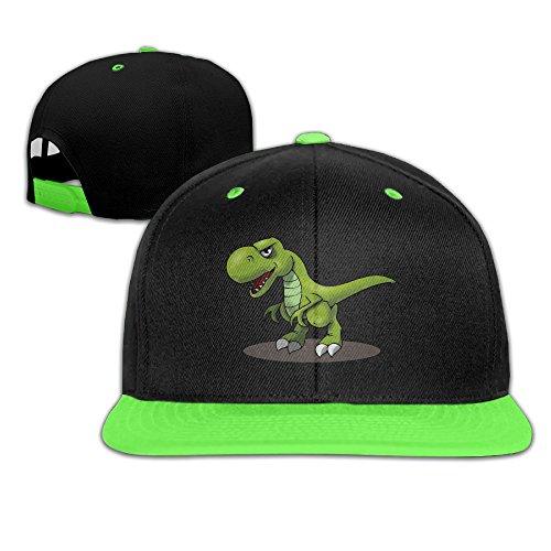 [Kids T-Rex Cartoon Dinosaurs Falt Hat Hip Hop Baseball Cap KellyGreen] (Dinosaur Hats)