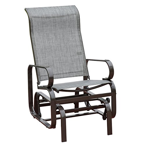 HollyHOME Outdoor Patio Rocker Chair, Balcony Glider Rocking Lounge Chair, All Weatherproof, Grey - Aluminum Sling Glider