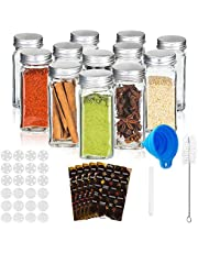 RUBY-Glazen Kruidenpotjesset met Deksel, 12/24PCS Vierkante Kruidenpotjesset,120ml Transparante Glazen Spice Jars met Etiket, Trechter, Borstel, Pen