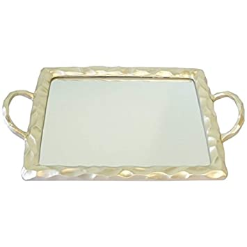 Bandeja de velas con espejo vintage con asa, bandeja rectangular de metal para velas de tocador, Champagne Gold, 32x26: Amazon.es: Hogar