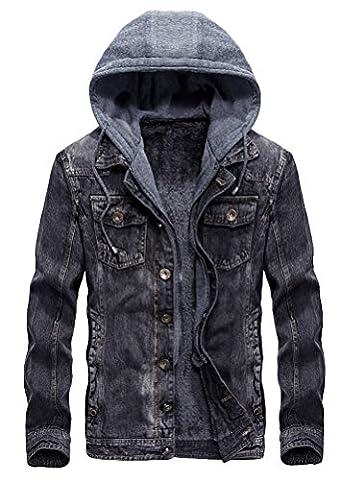 Vogstyle Men's Winter Denim Hooded Jacket Slim Fit Casual Jacket Button Down Distressed Jeans Coats Outwear Gray - Denim Coat Jacket