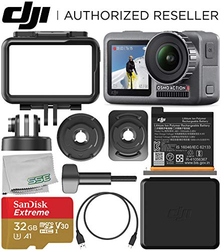 DJI Osmo Action 4K Camera with 32GB Basic Accessory Bundle - Includes: SanDisk Extreme 32GB microSDHC Memory Card (UHS-I / V30 / A1 / U3 / Class-10) + Microfiber Cleaning Cloth
