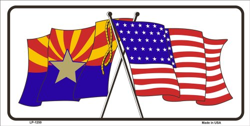 Smart Blonde LP-1250 Arizona American Crossed Flags Novelty Metal License Plate Tag Sign