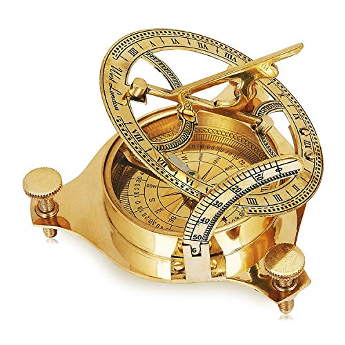 - Unique Christmas Gifts Solid Brass Classic Sundial Compass Hiking Climbing Biking Hunting Camping Survival Compass Outdoor Navigation Directional Nautical Liquid Filled Compass Housewarming Gifts