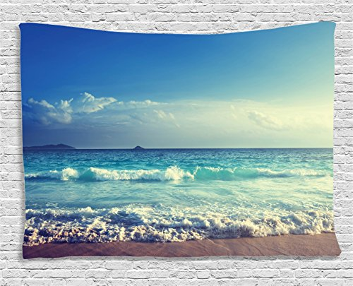 Paradise Sunset Tapestry - Ambesonne Ocean Decor Tapestry, Tropical Island Paradise Beach at Sunset Time with Waves and the Misty Sea Image, Wall Hanging for Bedroom Living Room Dorm, 80 W X 60 L Inches, Cream and Turquoise