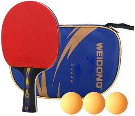 No Logo HMLSM - Raqueta de Tenis de Mesa Horizontal, Doble Cara, Impermeable, Juego de Raquetas de Entretenimiento Familiar (envío de 10 Pelotas + 2 Juegos de chupito), Mango Largo: Amazon.es: Deportes