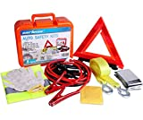 Cartman Roadside Assistance Auto Emergency Kit Set, Booster Cables 6Ga + Tow Belt 4500Lbs, in Carry Box