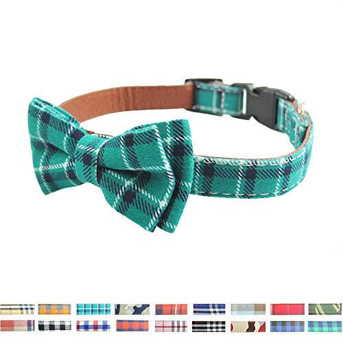 Dog Collar Bow Tie - Adorable Plaid Sturdy Soft Cotton&Leather Dog Collars for Small Medium Large Dogs Breed Pup Adjustable 18 Colors and 3 Sizes (Cyan Plaid, S 10