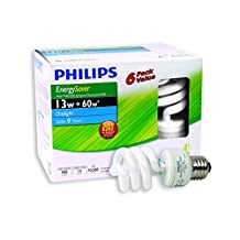 Philips 431148 CFL 13W = 60W Mini Twister Daylight (6500K) 6 Pack