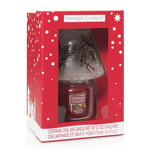 Yankee Candle Christmas Gift Set RED APPLE WREATH SMALL JAR...