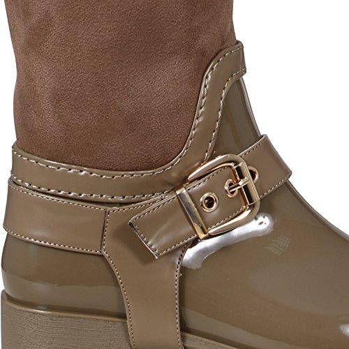 Damen-Stiefel, Regenstiefel, mit Schnallen, Reißverschluss, Größe 36-41 Dunkelbeige