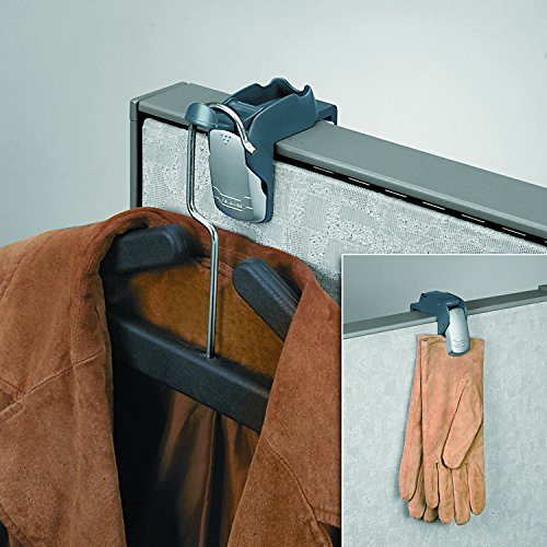 Fellowes 7501101 Pro Series Partition Additions Coat Hook & Clip, 1 5/8 x 2 3/4 x 3, Slate Gray