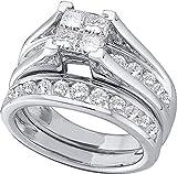 10kt White Gold Womens Diamond Princess Bridal Wedding Engagement Ring Band Set 9/10 Cttw