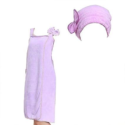 CIFFOSTT Toalla de Microfibra Bañador de Nudo Albornoz Ducha de Baño para Mujer con Gorra de